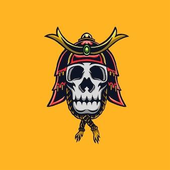 Ilustração do crânio de samurai