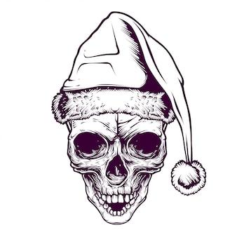 Ilustração do crânio de santa e design de tshirt