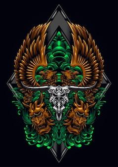 Ilustração do crânio de touro de águia gêmea