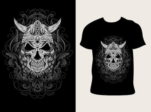 Ilustração do crânio de viking com design de camiseta