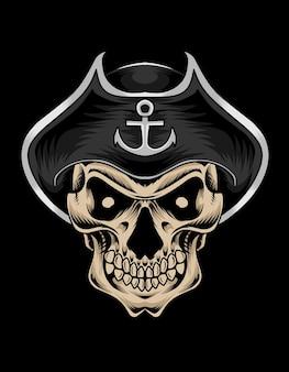 Ilustração do crânio do capitão pirata