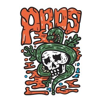 Ilustração do crânio do paraíso para camiseta