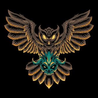 Ilustração do crânio do pássaro da coruja
