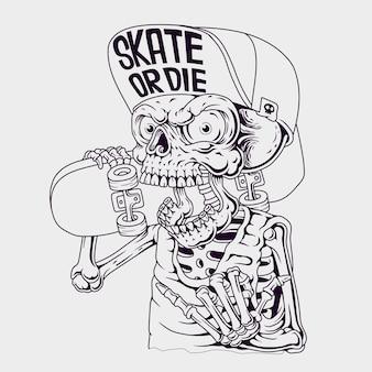 Ilustração do crânio do patinador. desenhado à mão.