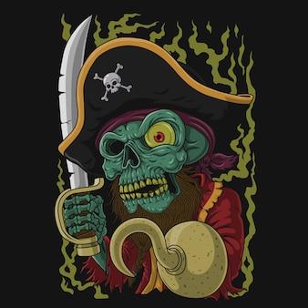 Ilustração do crânio do pirata. desenhado à mão.