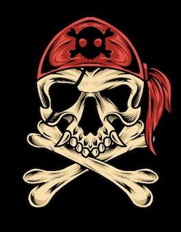Ilustração do crânio do pirata