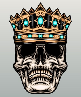 Ilustração do crânio do rei.