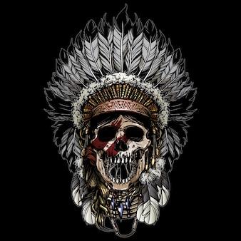 Ilustração do crânio indiano