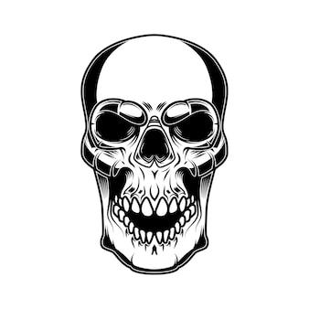 Ilustração do crânio isolada no fundo branco. elementos de design para logotipo, etiqueta, sinal, crachá, cartaz. imagem vetorial