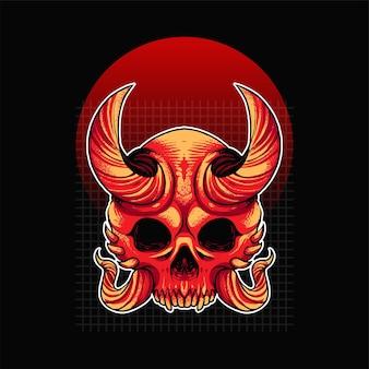 Ilustração do crânio oni com ornamento. adequado para camisetas, impressão e produtos de merchandising