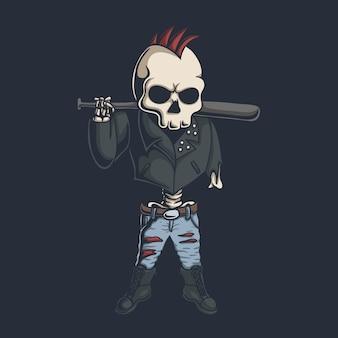 Ilustração do crânio punk