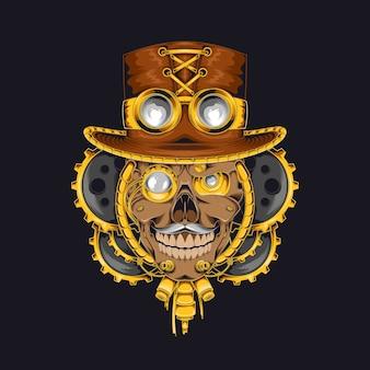 Ilustração do crânio steampunk