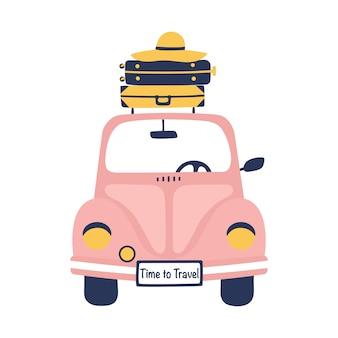 Ilustração do curso do verão com carro retro e malas de viagem.