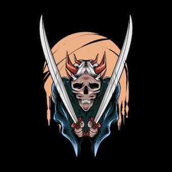 Ilustração do demônio oni com espada para desenho e impressão de camisetas