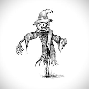 Ilustração do desenho a lápis de abóboras