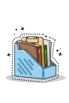 Ilustração do desenho à mão da estante de livros