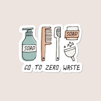 Ilustração do desenho a mão itens reutilizáveis de higiene pessoal pontas de lixo zero adesivos