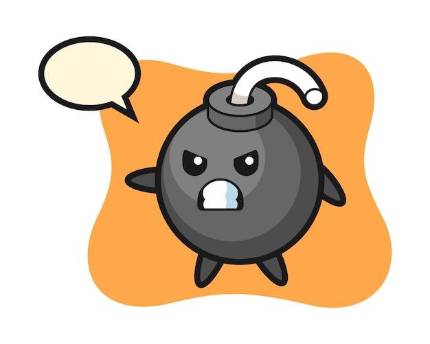 Ilustração do desenho animado da bomba como lutador de caratê