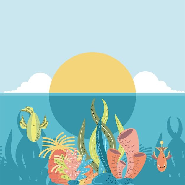 Ilustração do desenho animado do mundo subaquático pôr do sol oceano peixes coral e algas