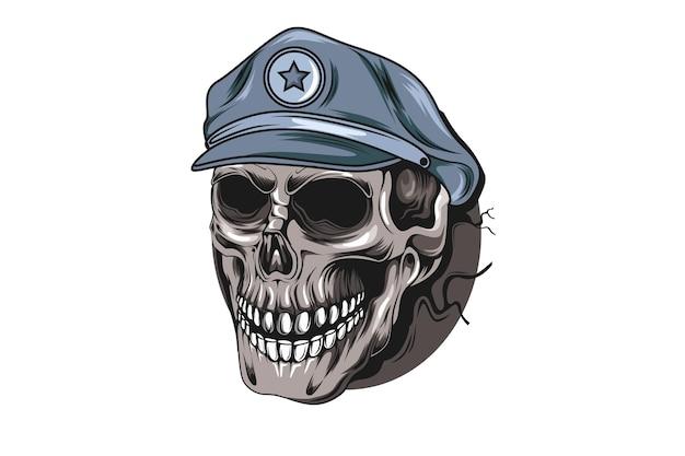 Ilustração do desenho da mão do crânio da polícia