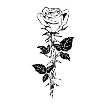 Ilustração do desenho de mão de rosa e arame farpado Vetor Premium
