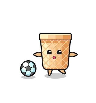 Ilustração do desenho do cone waffle está jogando futebol, design fofo