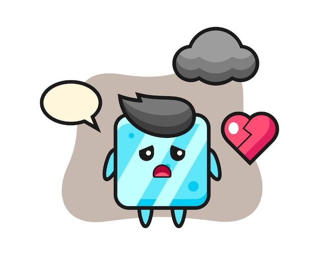 Ilustração do desenho do cubo de gelo com o coração partido