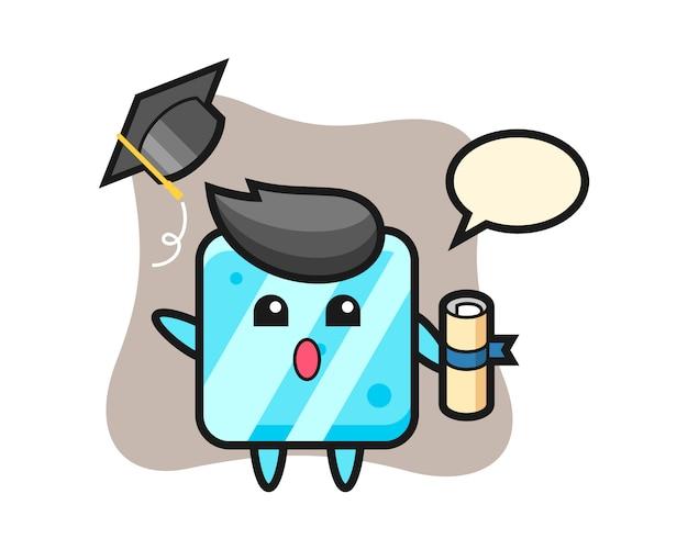 Ilustração do desenho do cubo de gelo jogando o chapéu na formatura
