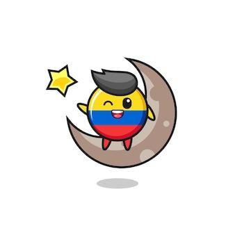 Ilustração do desenho do distintivo da bandeira da colômbia sentado na meia lua, design de estilo fofo para camiseta, adesivo, elemento de logotipo