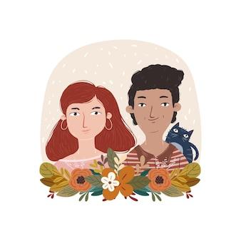 Ilustração do desenho do rosto de um casal amoroso fofo