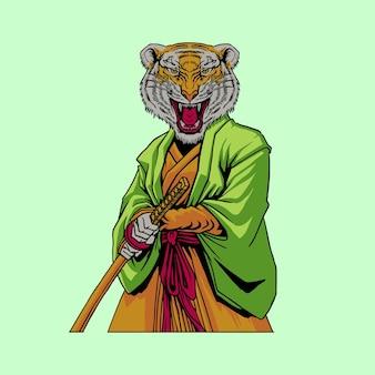 Ilustração do desenho do tigre samurai