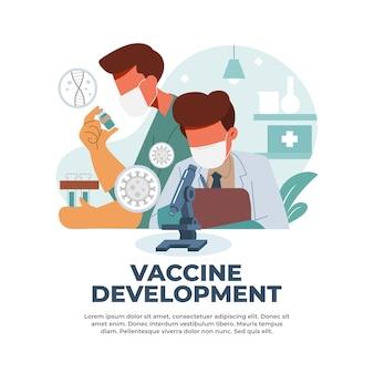 Ilustração do desenvolvimento de vacinas por cientistas médicos