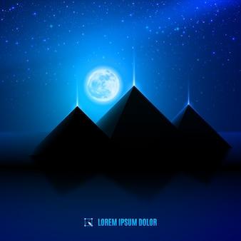 Ilustração do deserto à noite azul