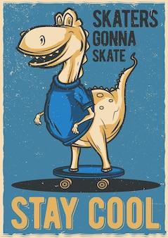 Ilustração do design de dinossauro no skate
