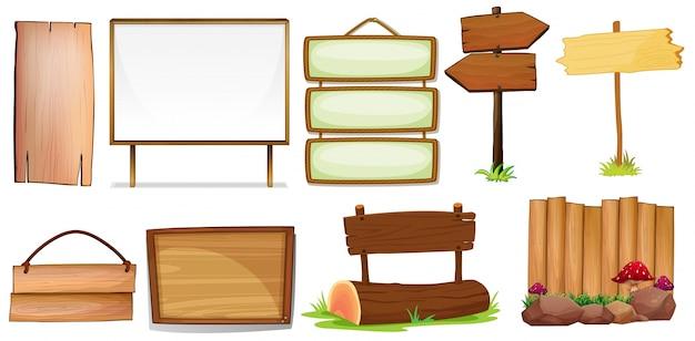 Ilustração do design diferente de sinais de madeira