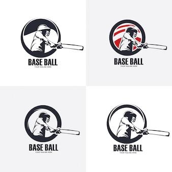 Ilustração do design do logotipo da bola base, silhueta do beisebol