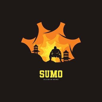 Ilustração do design do logotipo da luta de sumô, silhueta da luta de sumô