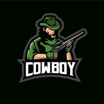 Ilustração do design do logotipo da mascote do cowboy e-sport