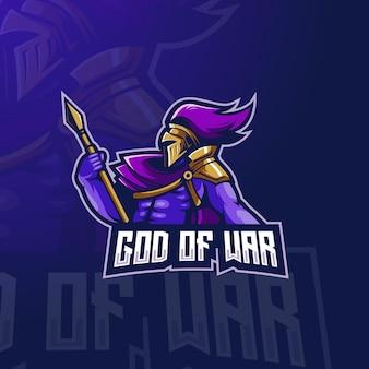 Ilustração do design do logotipo da mascote do god of war esport
