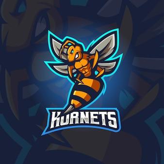 Ilustração do design do logotipo da mascote do hornets e-sport