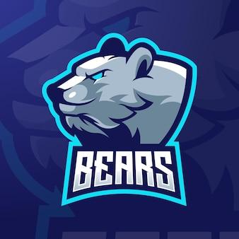 Ilustração do design do logotipo da mascote do urso para a equipe de esports