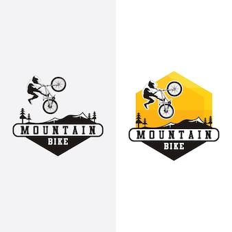 Ilustração do design do logotipo da mountain bike, silhueta da bicicleta