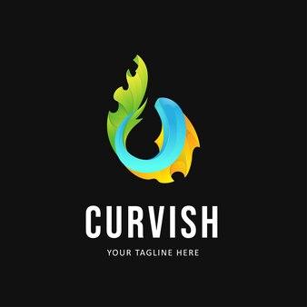 Ilustração do design do logotipo de peixes coloridos