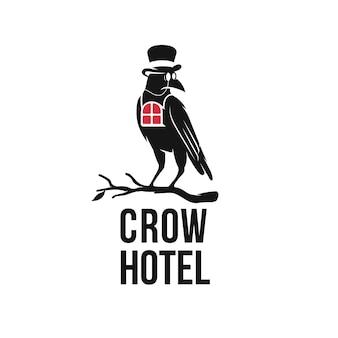 Ilustração do design do logotipo de um hotel de corvo, único e artístico