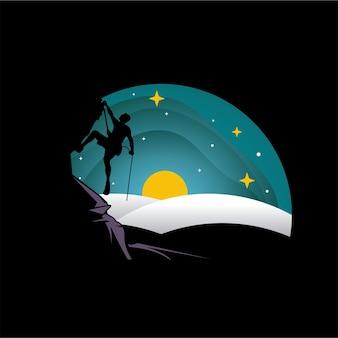 Ilustração do design do logotipo do alpinista de iceberg