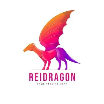 Ilustração do design do logotipo do dragão colorido