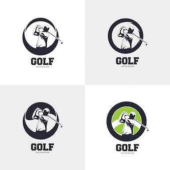 Ilustração do design do logotipo do golfe, silhueta do golfe.
