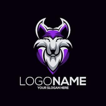 Ilustração do design do logotipo do lobo