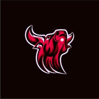Ilustração do design do logotipo do mascote do búfalo
