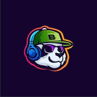 Ilustração do design do logotipo do mascote do remix do panda